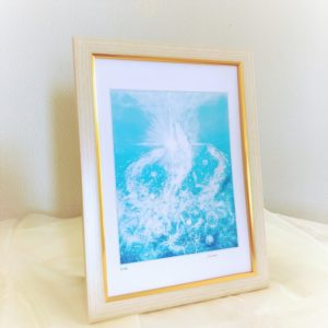 ヒーリングアート龍神-白水龍の額入り画像